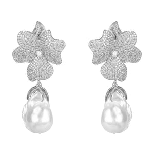 Latelita - Baroque Pearl White Flower Drop Earring Silver