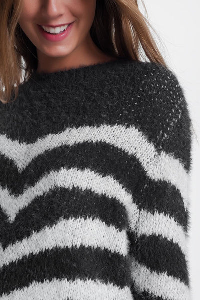 Q2 - Fluffy Stripe Sweater in Grey