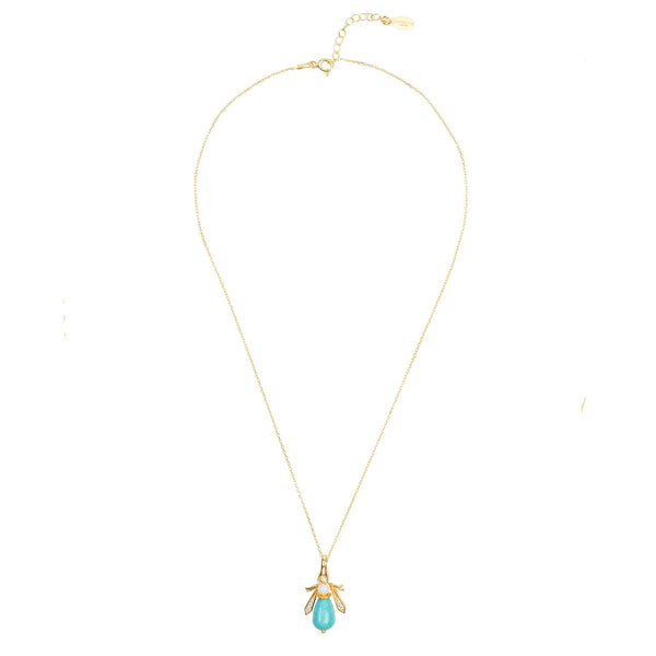 Latelita - Turquoise & Pearl Gemstone Bee Pendant Necklace Gold