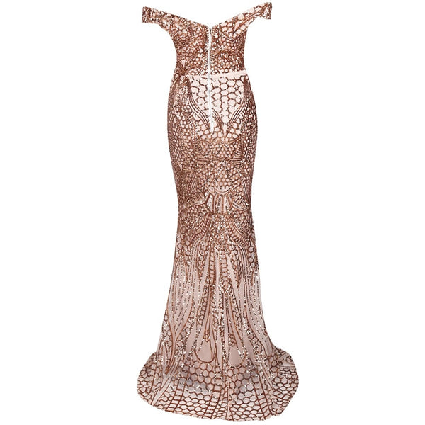 Evelyn Belluci - Gold Off Shoulder Evening Gown