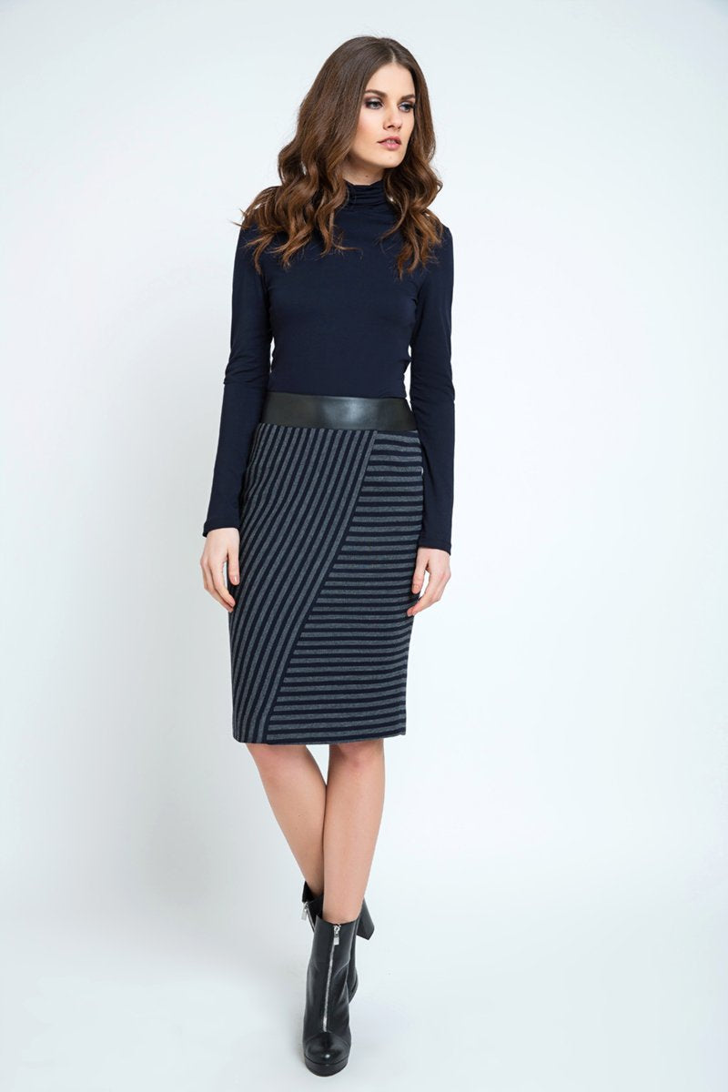Conquista - Midi Pencil Skirt Stripped