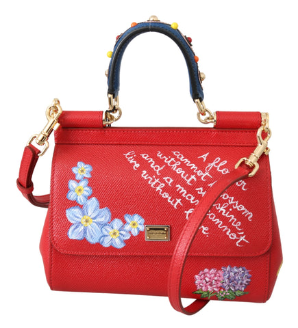 Red Leather Floral Hand Painted Studded SICILY