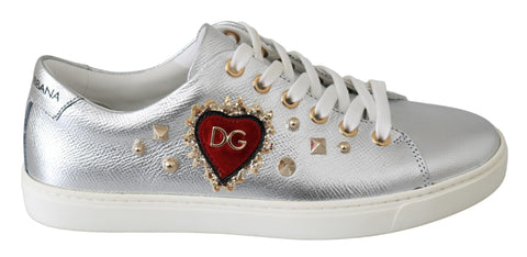 Silver Leather Gold Red Heart Sneakers Shoes