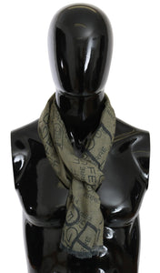 Green Wool Viscose Foulard Patterned Branded Scarf