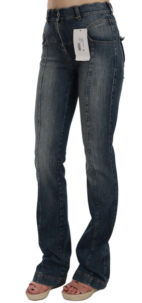 Blue  Denim Regular Stretch Bootcut Flared Pants