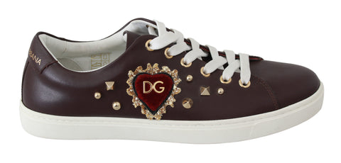 Brown Leather Gold Red Heart Sneakers Shoes