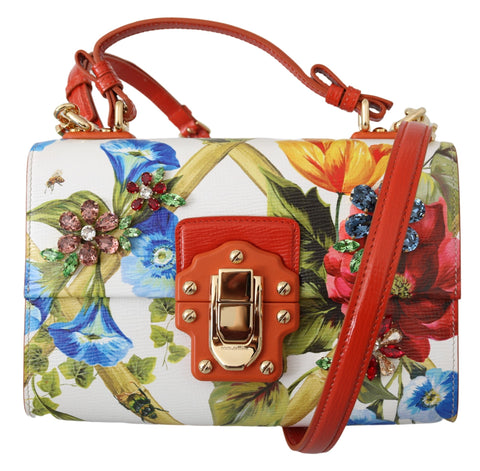 Red Floral Crystal Leather Shoulder LUCIA Purse