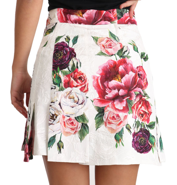 White L'Amore E'Bellezza Floral Mid Waist Mini Skirt