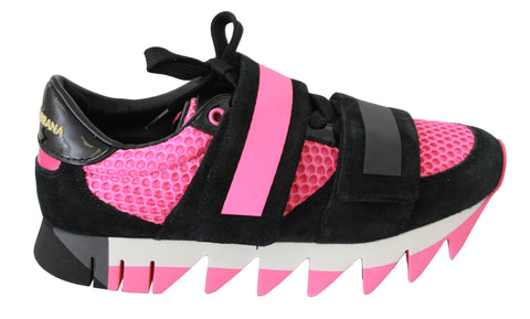 Black Pink Leather Strap Shoes Sneakers