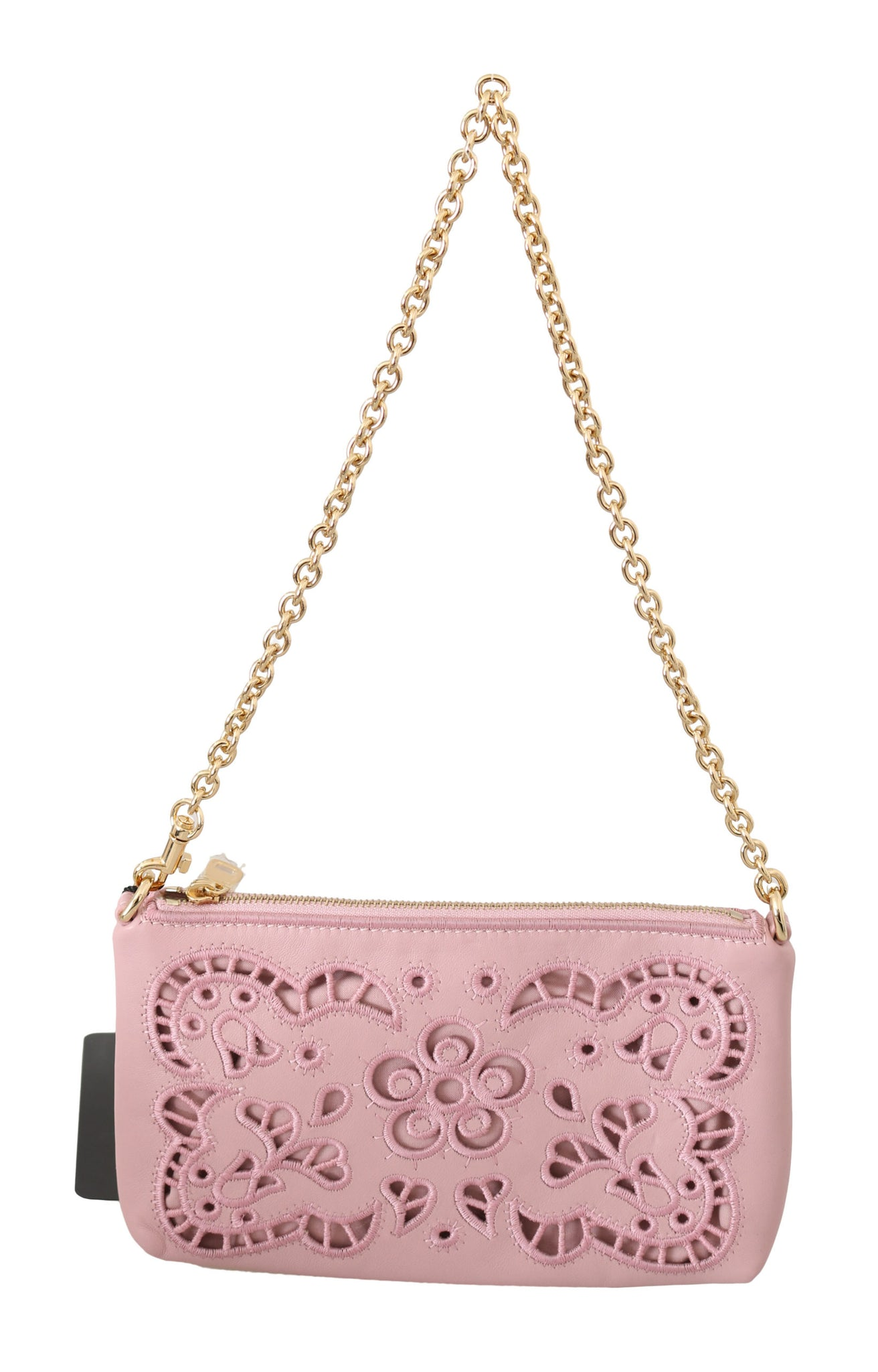 Pink Cutout Shoulder Mini Cross Body Leather Purse