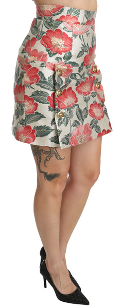 White Green Red Floral High Waist Mini Skirt