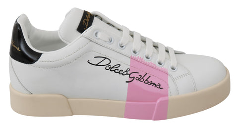 White Pink Leather Casual Sneakers Shoes