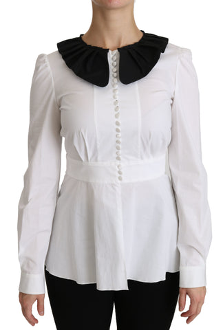 White Collared Long Sleeve Blouse Cotton Top