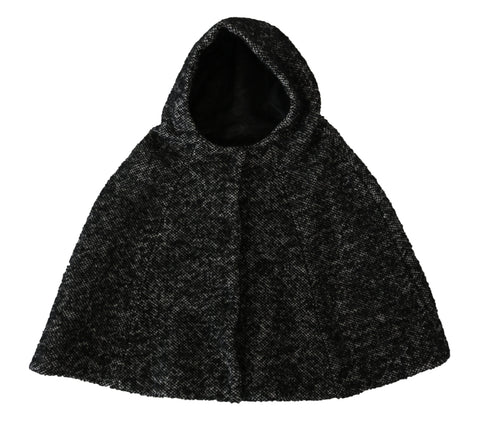 Gray Tweet Wool Shoulder Hat Hooded Scarf