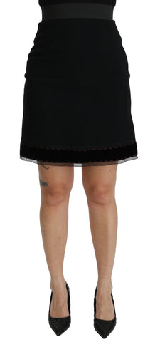 Black A-line High Waist Mini Viscose  Skirt