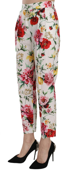 White Floral Cotton Cropped Trousers Pants