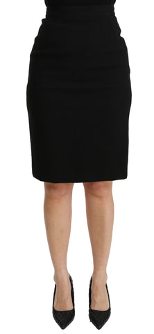 Black Pencil Cut High Waist Wool Skirt