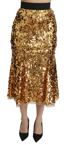 Gold Sequined Shiny High Waist Midi Skirt