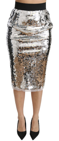 Silver Sequined Pencil Cut High Waist Skirt