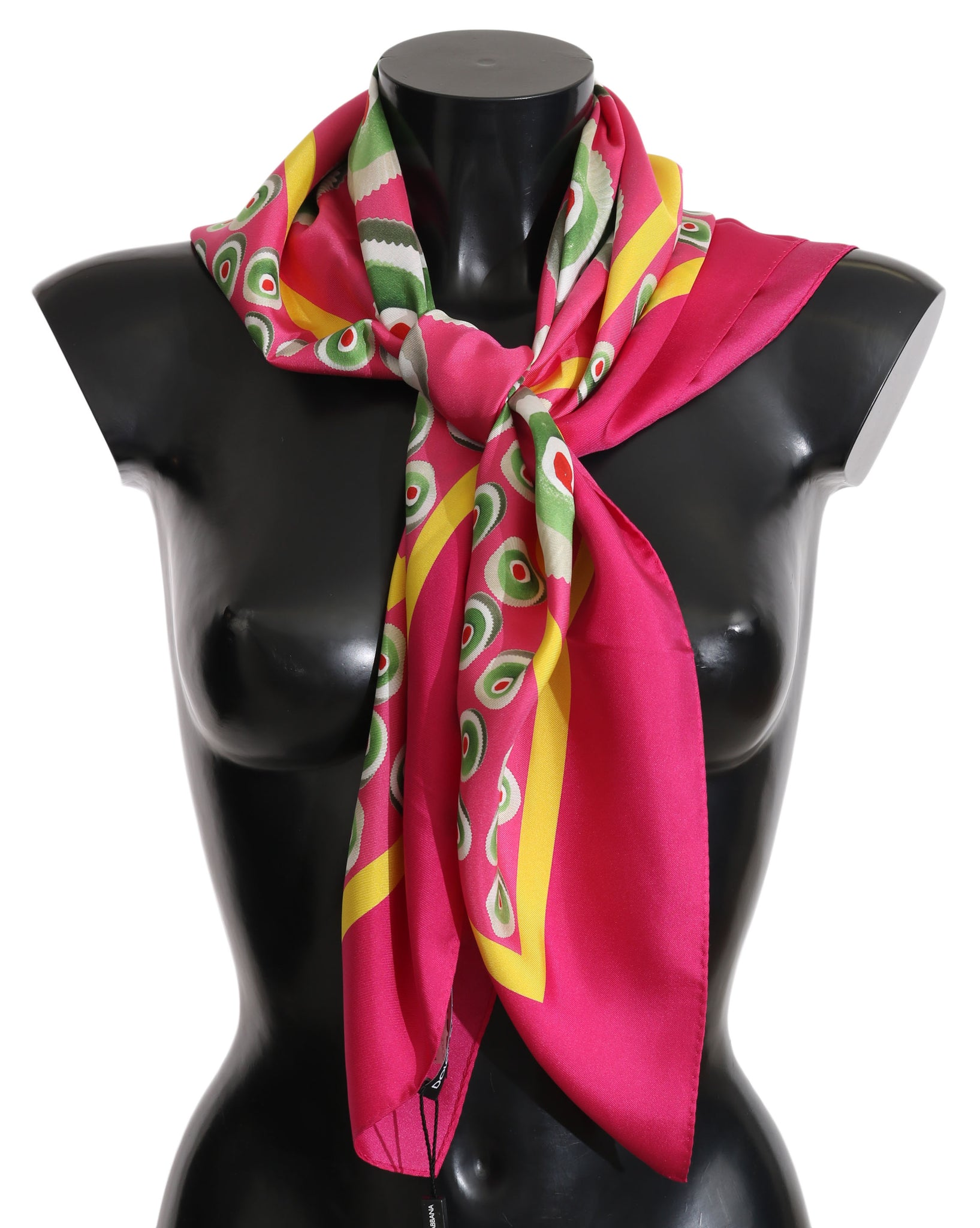 Pink Multicolor Square Silk Wrap Shawl Scarf