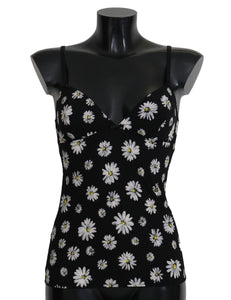 Black Daisy Print Dress Lingerie Chemisole