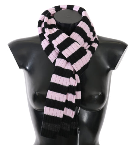 Pink Black Striped Cashmere Wool Wrap Scarf