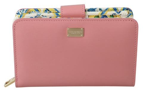 Pink Leather Majolica Card Coin Bill Clutch Wallet