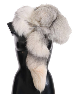 Fox Tail Fur Shawl Neck Wrap Cover White Gray Collar Scarf