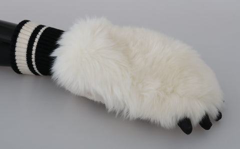 Cream Paw Fur Knitted Wrist Polyester Gloves
