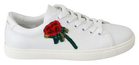 White Leather Red Rose Sneakers Shoes
