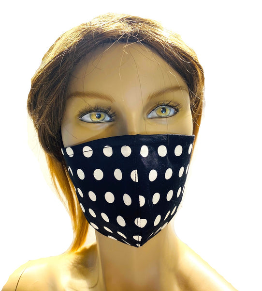 Black and White Dots - Designer Fashion Face Mask