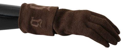 Brown Wool Wrist Length Mitten Designer Gloves