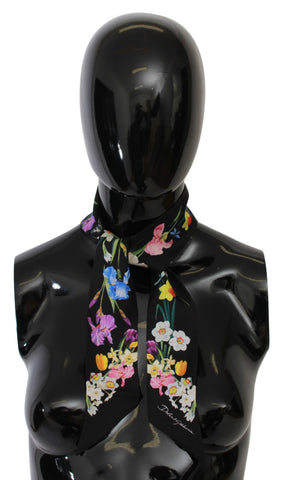 Black Floral Silk Necktie Shawl Women Scarf
