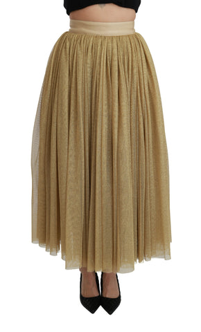 Gold High Waist Maxi Long Stretch Skirt
