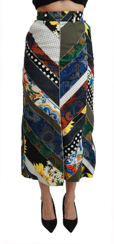 Multicolor Silk Geometric High Waist Maxi Skirt