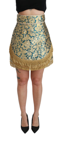 Blue High Waist Jacquard Tassel Gold Skirt