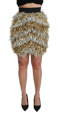 Gold Silver High Waist Fringe Mini  Skirt