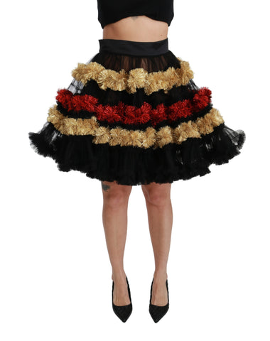 Multicolor Sheer Layered Ruffled Skirt