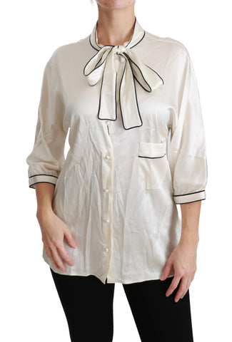 Beige 3/4 Sleeve Shirt Blouse Silk Top