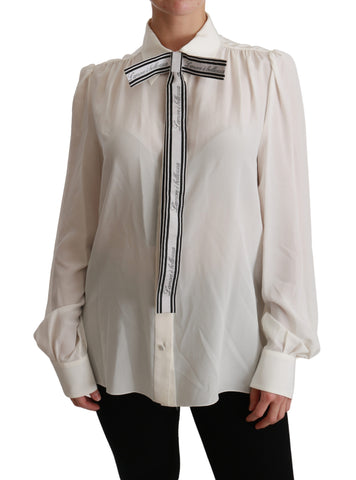 White Long Sleeve Shirt Blouse Silk Top