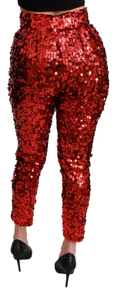 Red Sequined Cropped Trousers Pants
