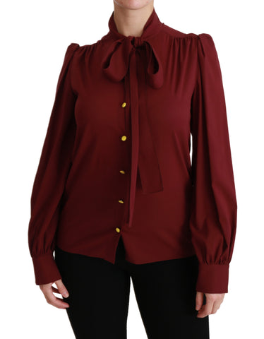 Maroon Long Sleeve Shirt Blouse Silk Top