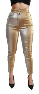 Gold Glittered Skinny High Waist Pants