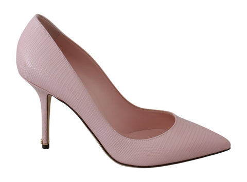 Pink Leather Classic Heels Pumps Shoes