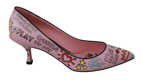 Pink Hand Painted Leather Heels Pumps Shoes