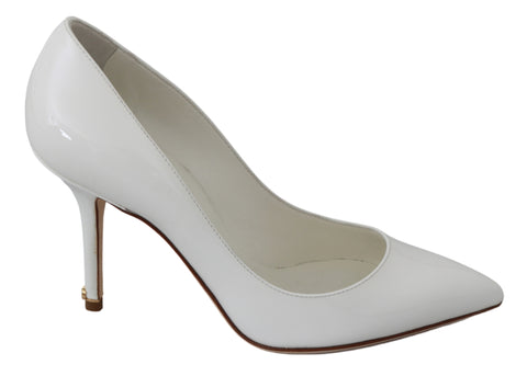 White Patent 100% Leather Heels Pumps Shoes
