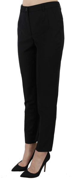 Black Wool Blend Cropped Trouser Tapered Pants