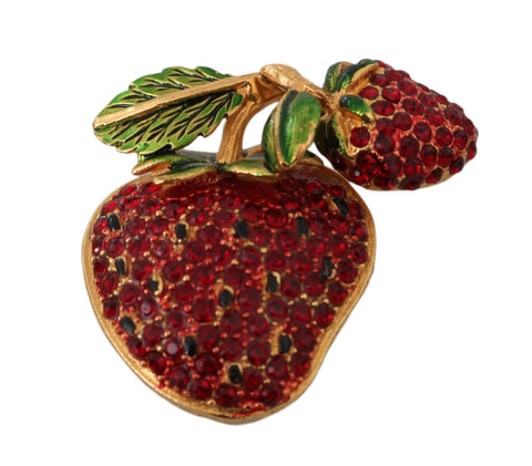 Gold Plated Brass Red Crystal Strawberry Pin Brooch