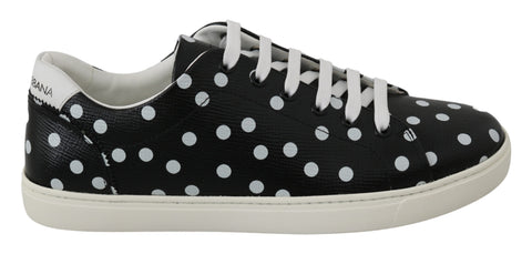 Black Leather Polka Dots Sneakers Shoes