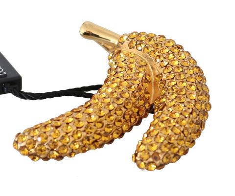 Banana Gold Yellow Brass Crystal Catwalk Pin Brooch
